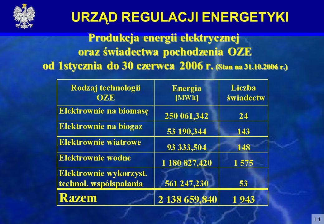 Produkcja energii elektrycznej oraz świadectwa pochodzenia OZE od 1stycznia do 30 czerwca 2006 r.