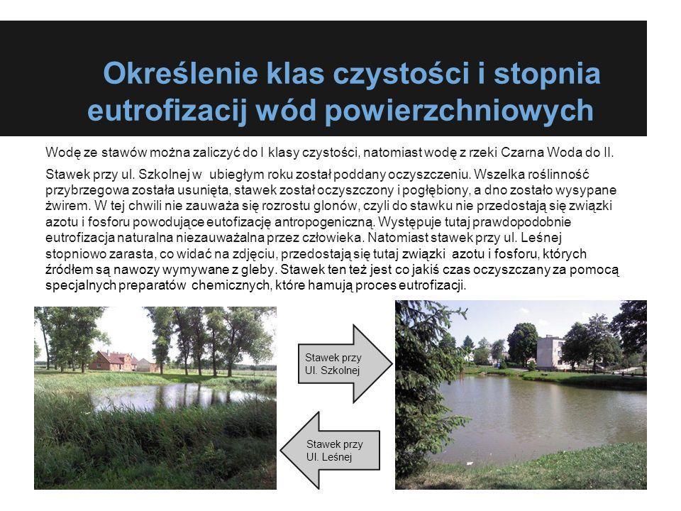 Określenie klas czystości i stopnia eutrofizacij wód powierzchniowych