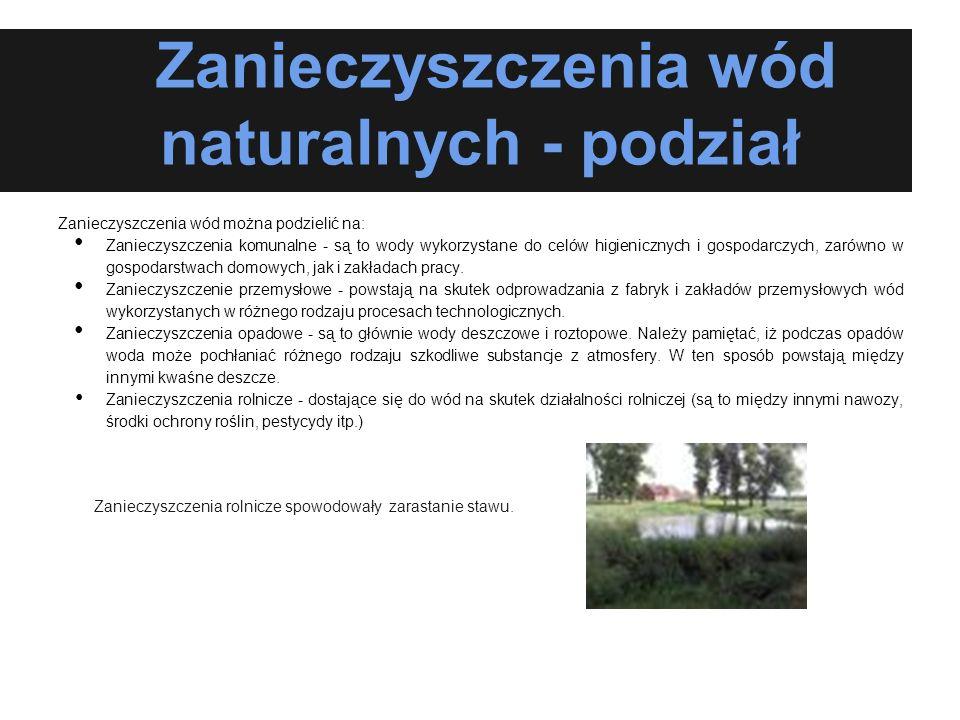 Zanieczyszczenia wód naturalnych - podział