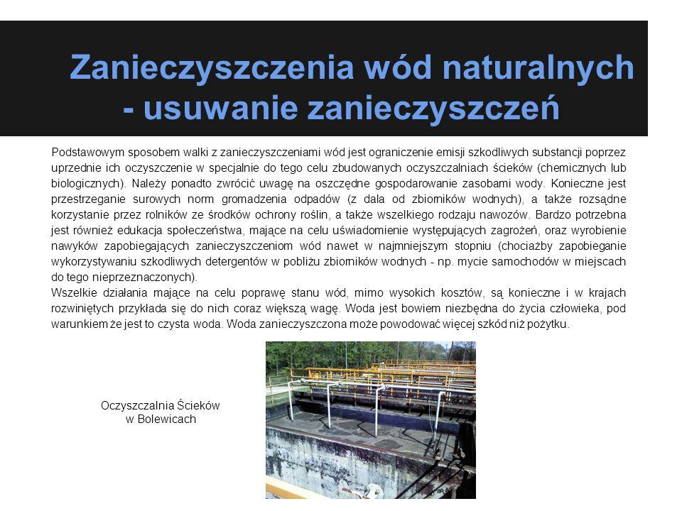 Zanieczyszczenia wód naturalnych - usuwanie zanieczyszczeń