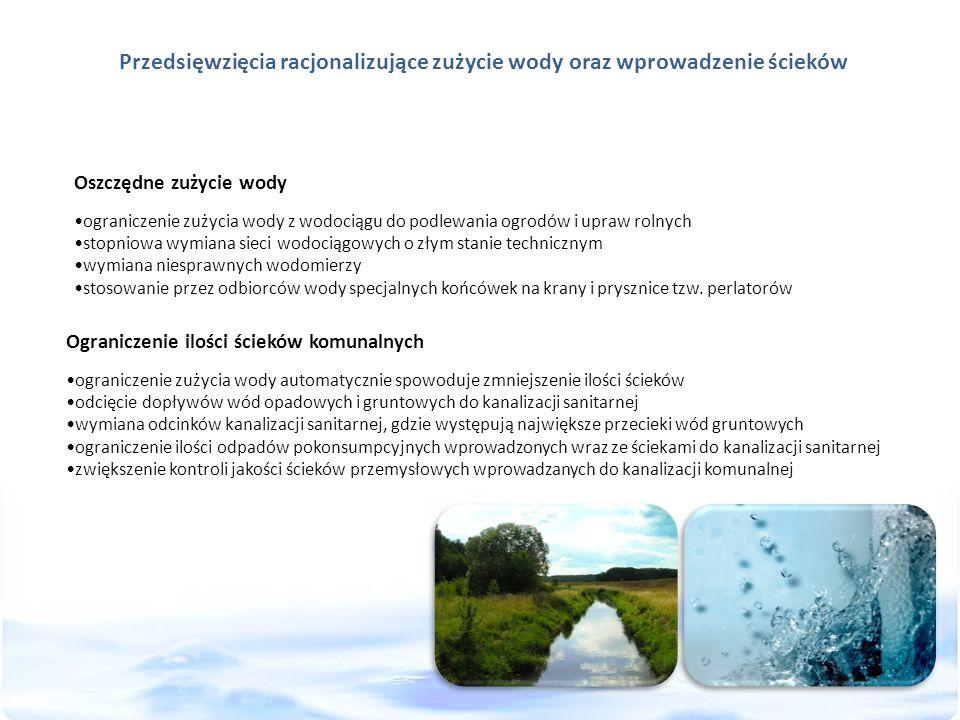 Przedsięwzięcia racjonalizujące zużycie wody oraz wprowadzenie ścieków