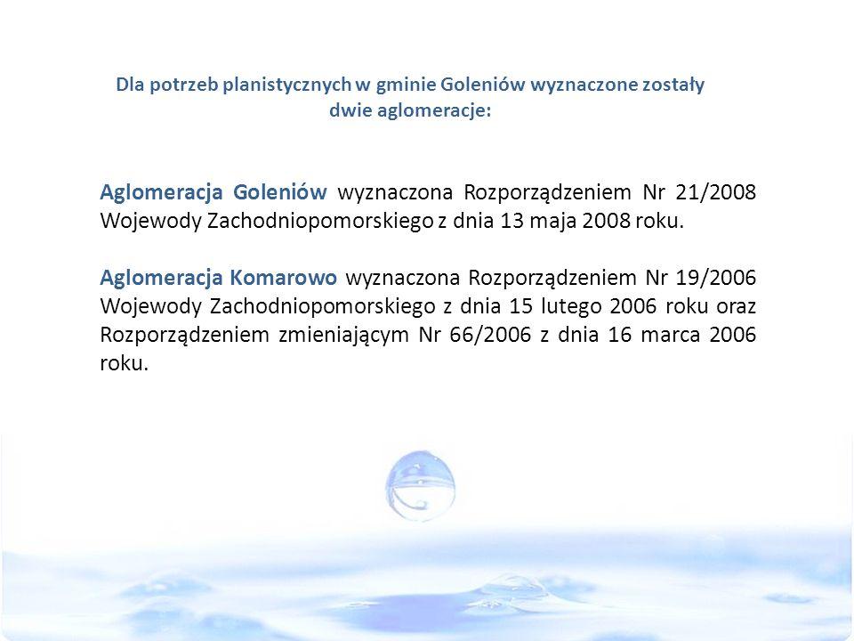 Dla potrzeb planistycznych w gminie Goleniów wyznaczone zostały dwie aglomeracje: