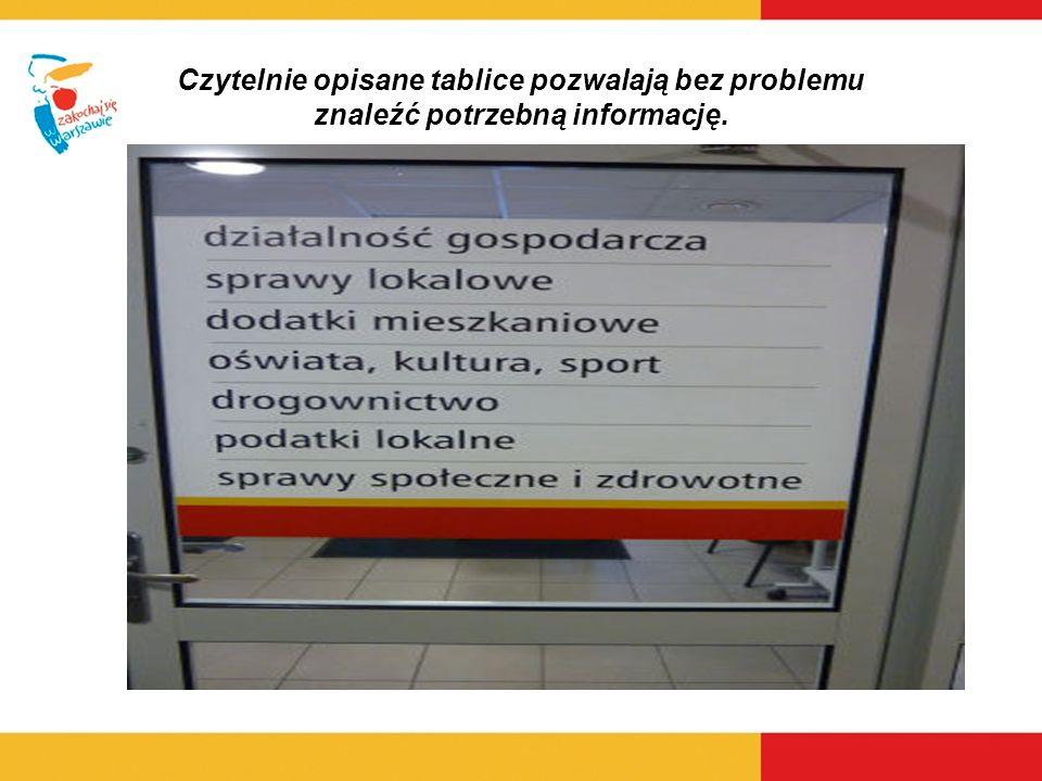 Czytelnie opisane tablice pozwalają bez problemu znaleźć potrzebną informację.