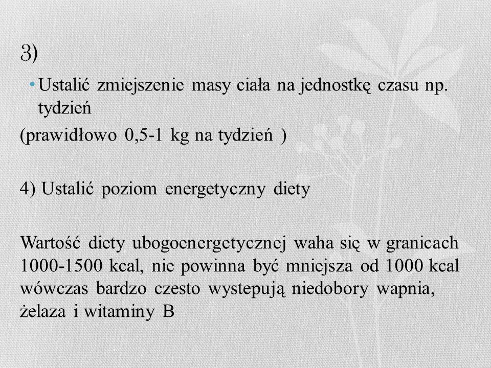 3) Ustalić zmiejszenie masy ciała na jednostkę czasu np. tydzień