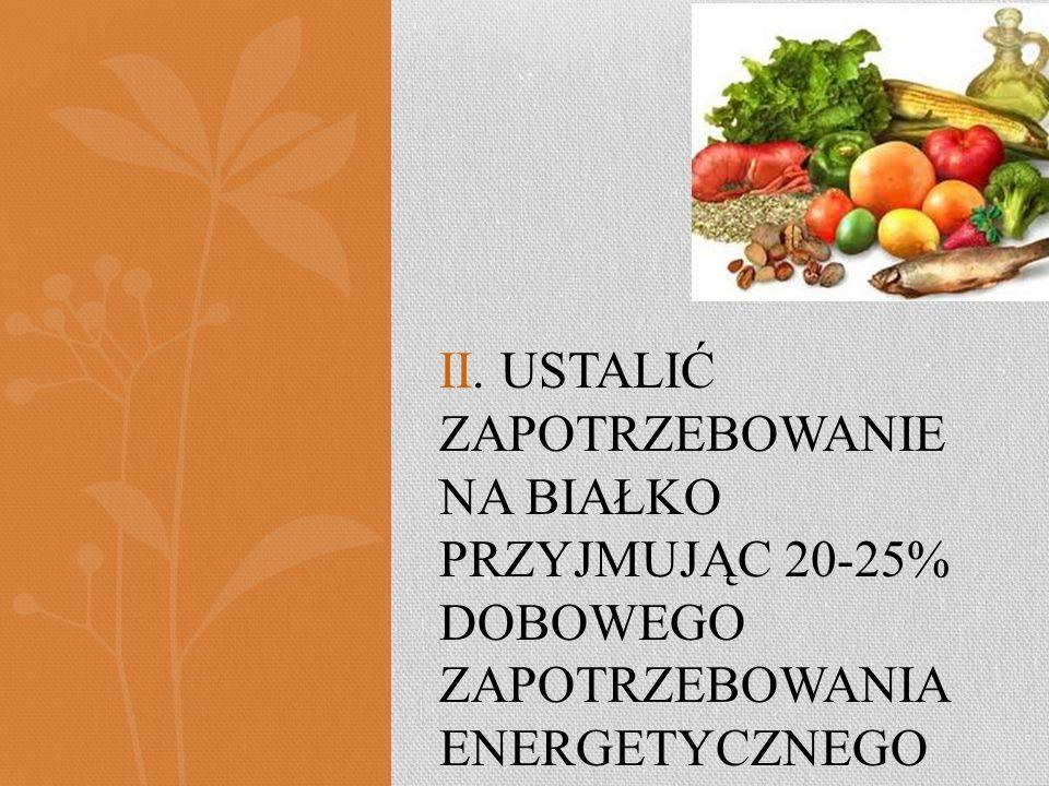 II. Ustalić zapotrzebowanie na Białko przyjmując 20-25% dobowego zapotrzebowania energetycznego