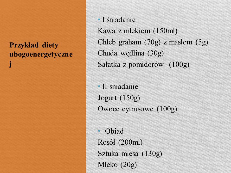 I śniadanie Kawa z mlekiem (150ml) Chleb graham (70g) z masłem (5g) Chuda wędlina (30g) Sałatka z pomidorów (100g)