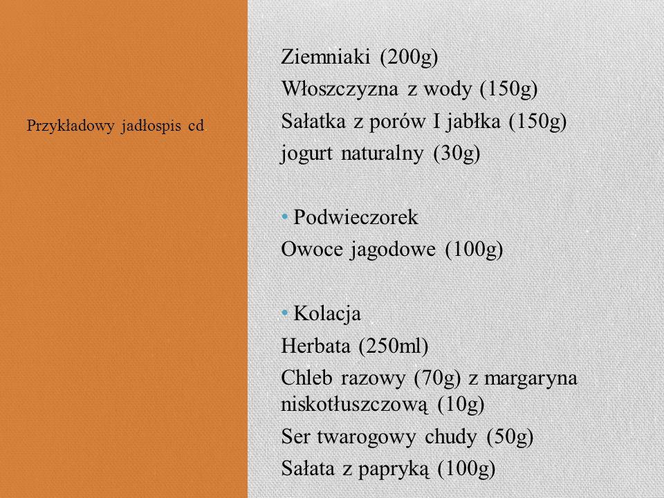 Sałatka z porów I jabłka (150g) jogurt naturalny (30g) Podwieczorek