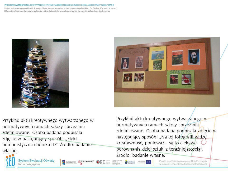 """Przykład aktu kreatywnego wytwarzanego w normatywnych ramach szkoły i przez nią zdefiniowane. Osoba badana podpisała zdjęcie w następujący sposób: """"Na tej fotografii widzę kreatywność, ponieważ… są to ciekawe porównania dzieł sztuki z teraźniejszością . Źródło: badanie własne."""