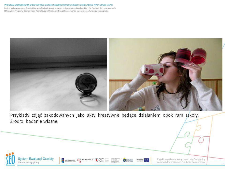 Przykłady zdjęć zakodowanych jako akty kreatywne będące działaniem obok ram szkoły.