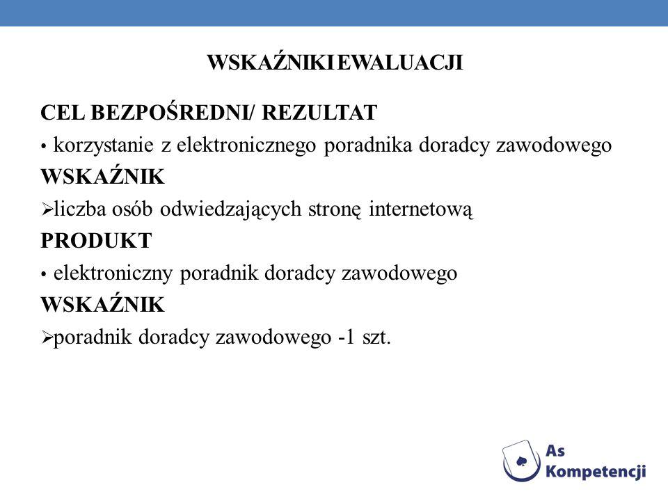 WSKAŹNIKI EWALUACJI CEL BEZPOŚREDNI/ REZULTAT. korzystanie z elektronicznego poradnika doradcy zawodowego.