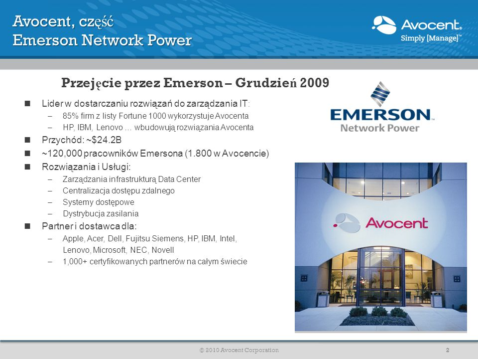 Avocent, część Emerson Network Power