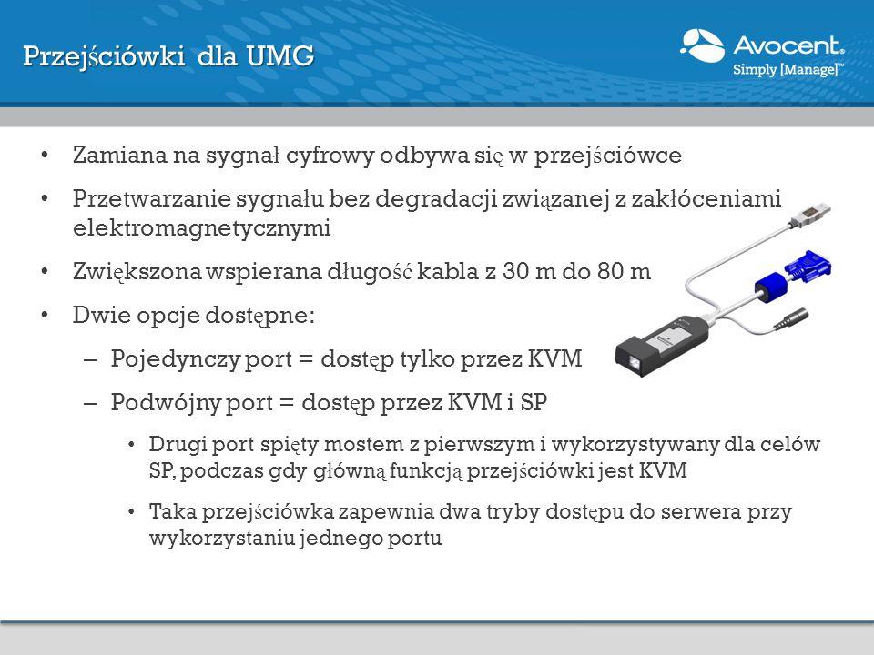 Przejściówki dla UMG Zamiana na sygnał cyfrowy odbywa się w przejściówce.
