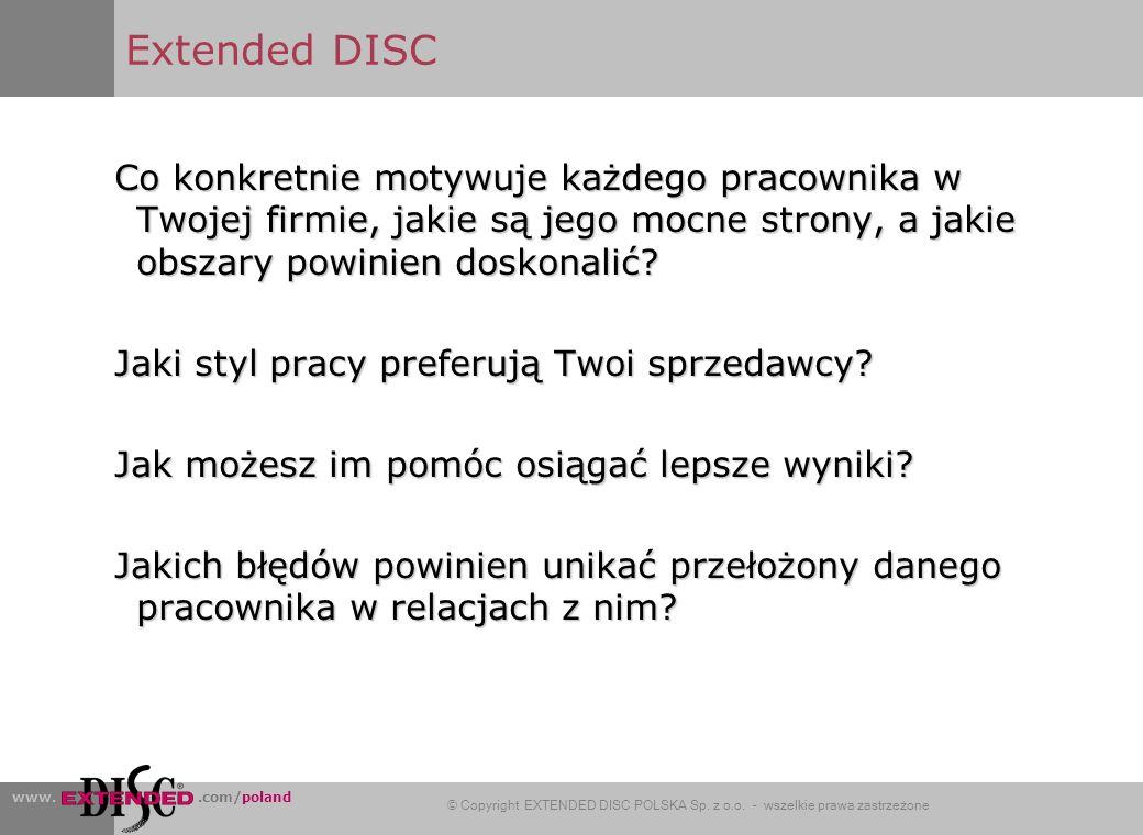 Extended DISC Co konkretnie motywuje każdego pracownika w Twojej firmie, jakie są jego mocne strony, a jakie obszary powinien doskonalić