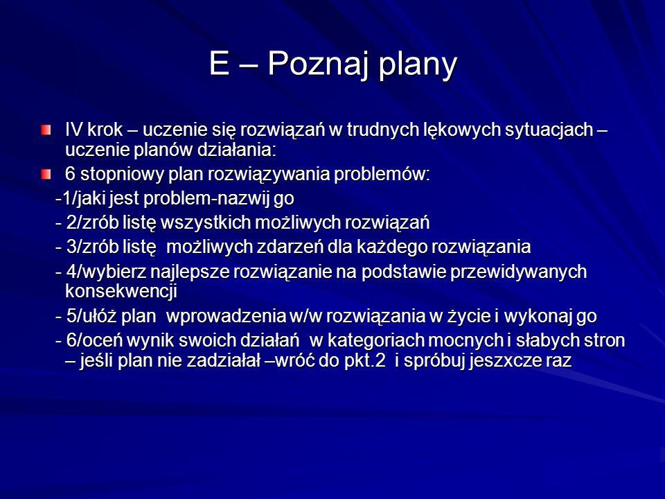 E – Poznaj planyIV krok – uczenie się rozwiązań w trudnych lękowych sytuacjach – uczenie planów działania: