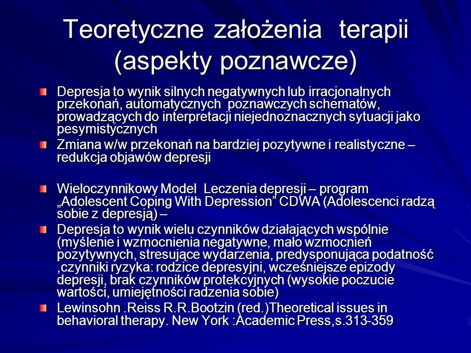 Teoretyczne założenia terapii (aspekty poznawcze)