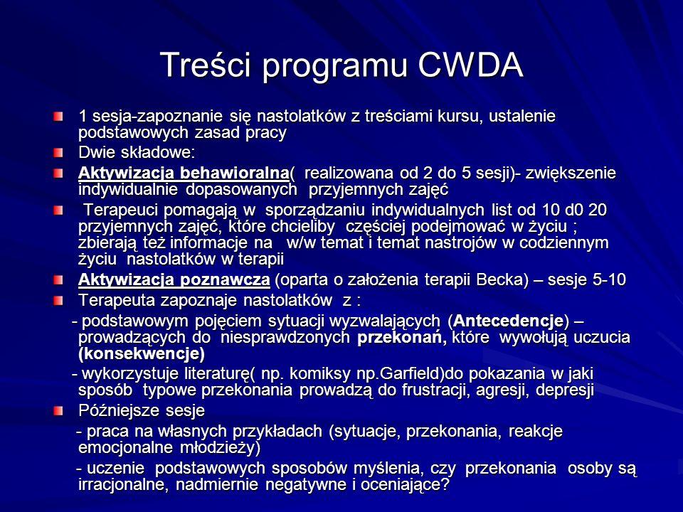 Treści programu CWDA 1 sesja-zapoznanie się nastolatków z treściami kursu, ustalenie podstawowych zasad pracy.