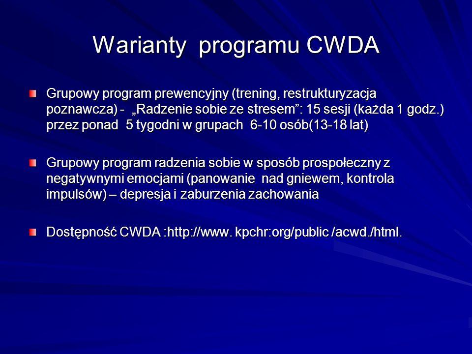 Warianty programu CWDA