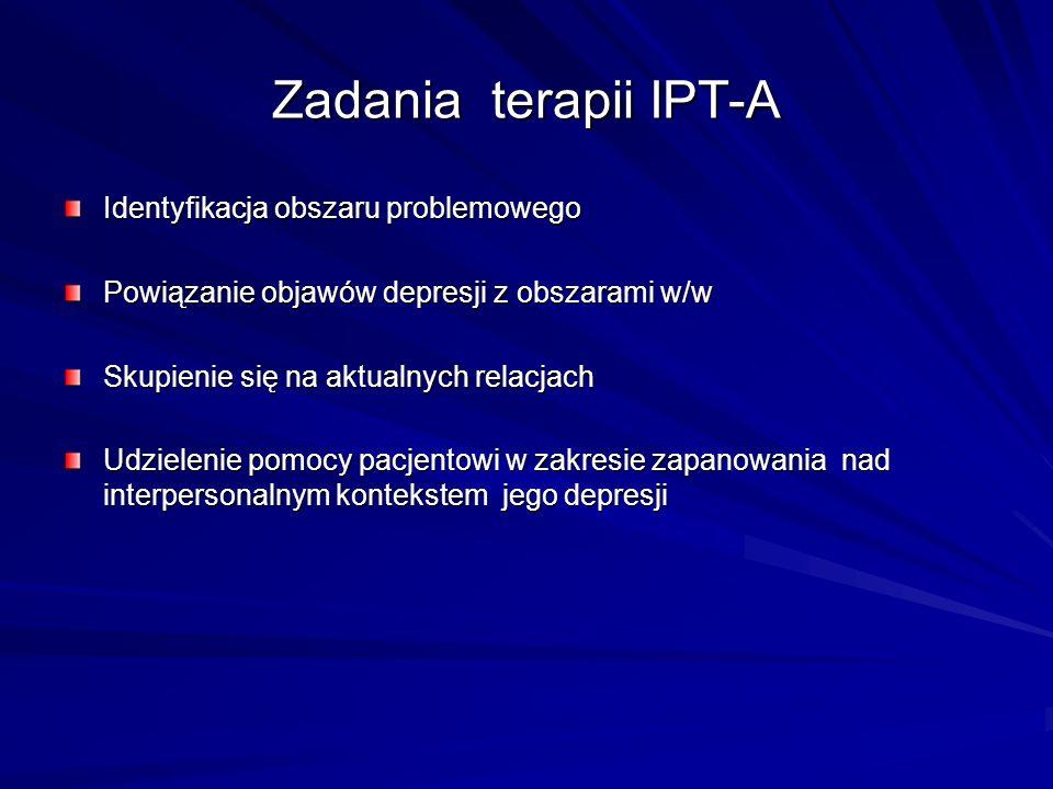 Zadania terapii IPT-A Identyfikacja obszaru problemowego