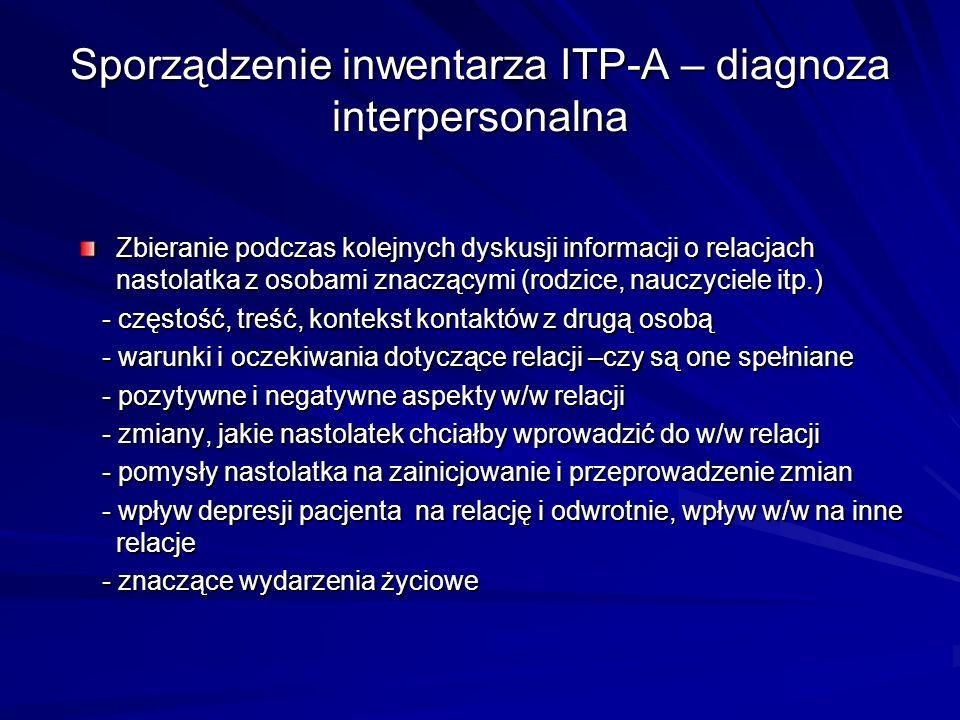 Sporządzenie inwentarza ITP-A – diagnoza interpersonalna