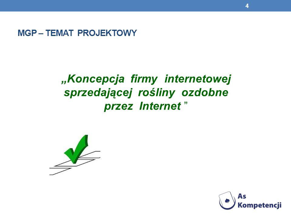 """Mgp – temat projektowy """"Koncepcja firmy internetowej sprzedającej rośliny ozdobne przez Internet"""