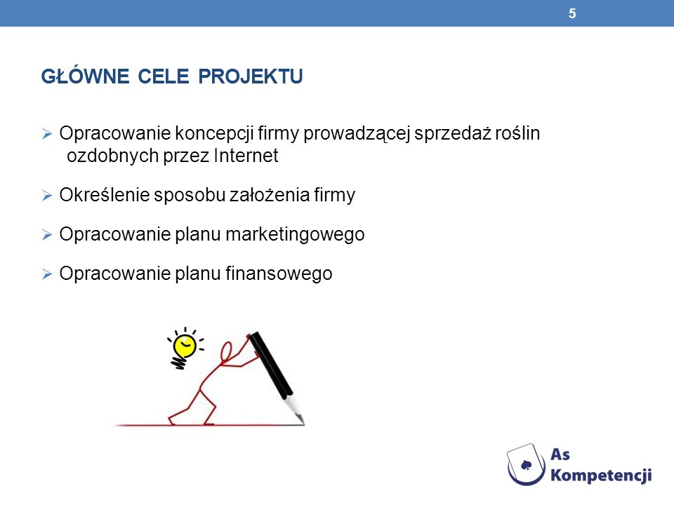 Główne cele projektu Opracowanie koncepcji firmy prowadzącej sprzedaż roślin ozdobnych przez Internet.