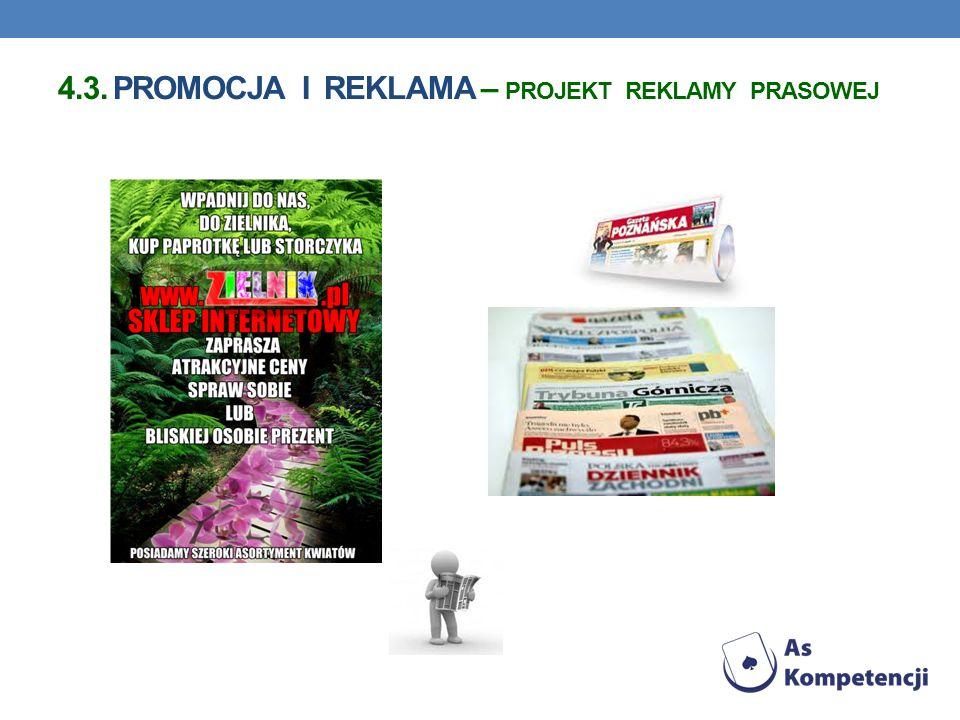 4.3. Promocja i reklama – projekt reklamy prasowej