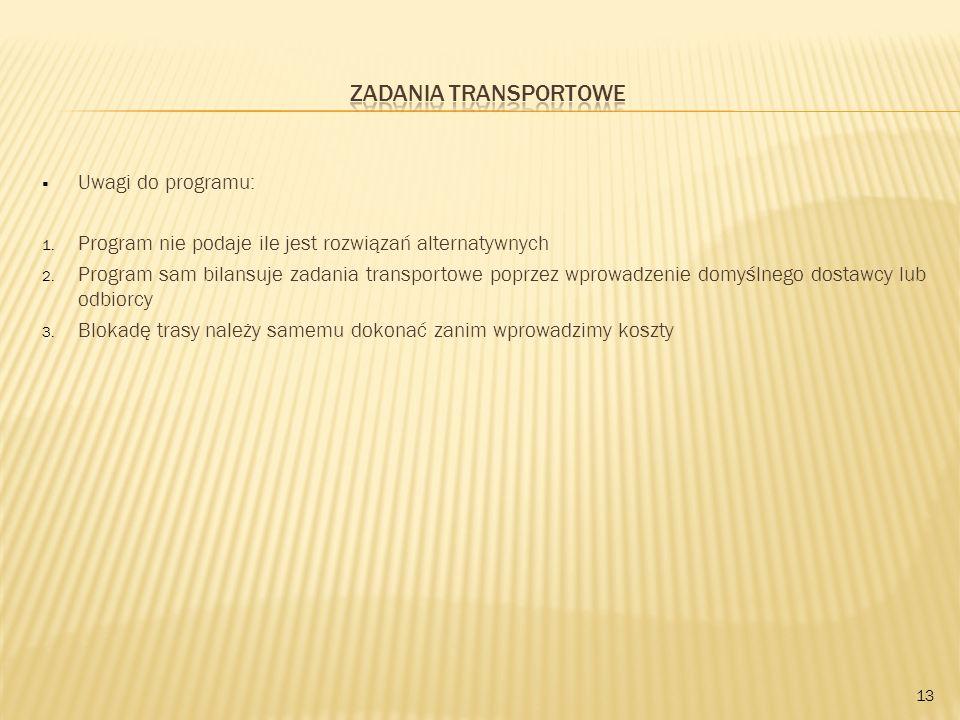 Zadania transportowe Uwagi do programu: