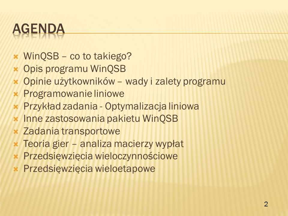 agenda WinQSB – co to takiego Opis programu WinQSB