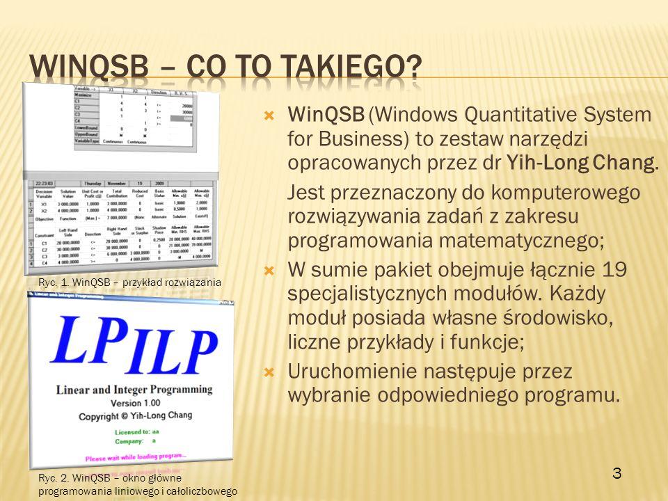 Winqsb – co to takiego WinQSB (Windows Quantitative System for Business) to zestaw narzędzi opracowanych przez dr Yih-Long Chang.