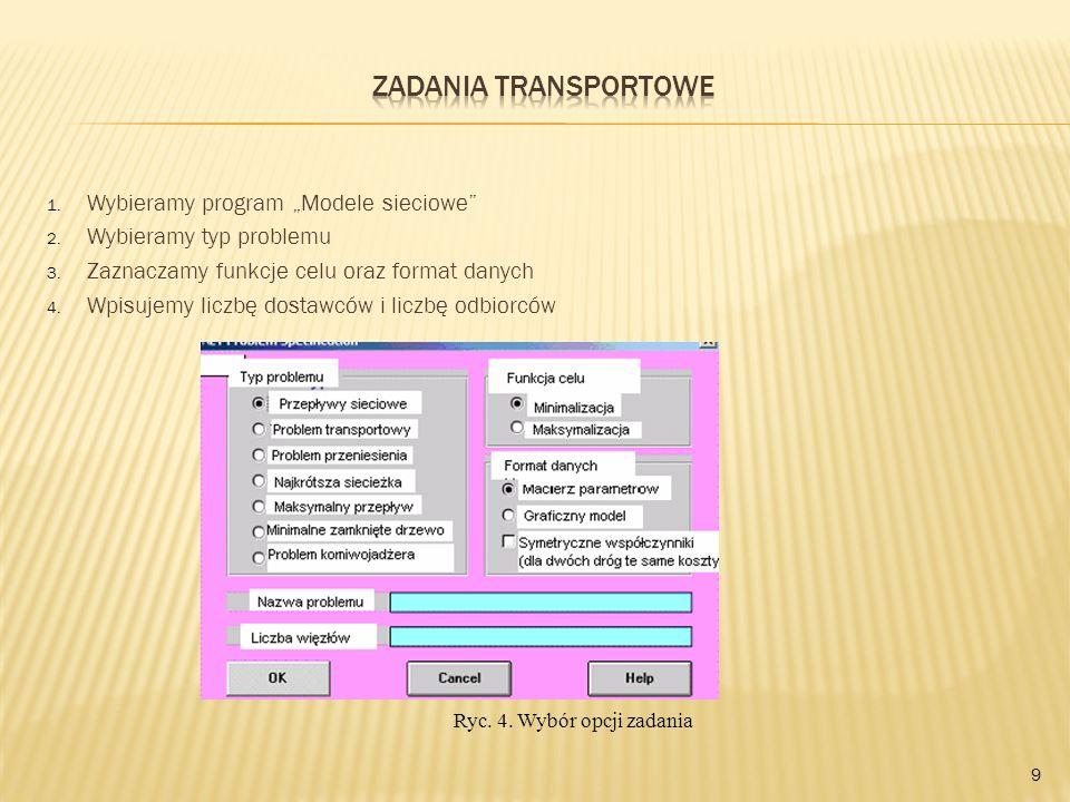 """Zadania transportowe Wybieramy program """"Modele sieciowe"""