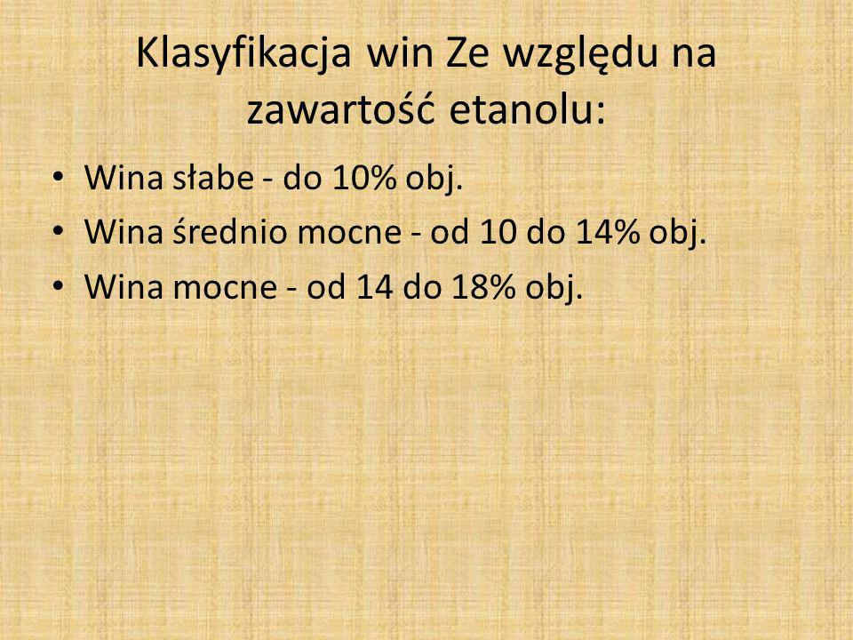 Klasyfikacja win Ze względu na zawartość etanolu:
