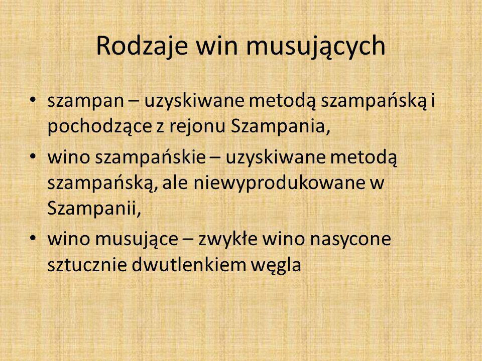 Rodzaje win musujących