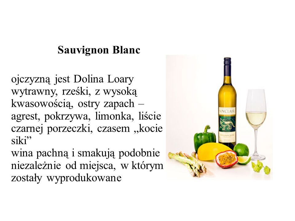 Sauvignon Blanc ojczyzną jest Dolina Loary.