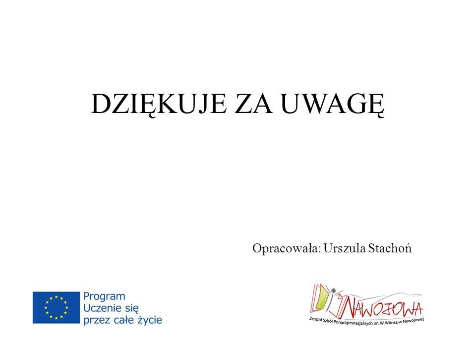 DZIĘKUJE ZA UWAGĘ Opracowała: Urszula Stachoń