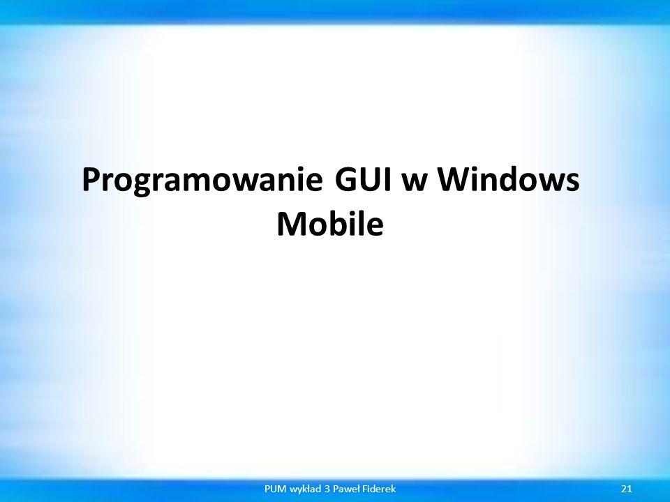 Programowanie GUI w Windows Mobile