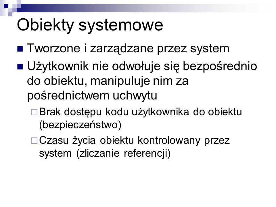 Obiekty systemowe Tworzone i zarządzane przez system
