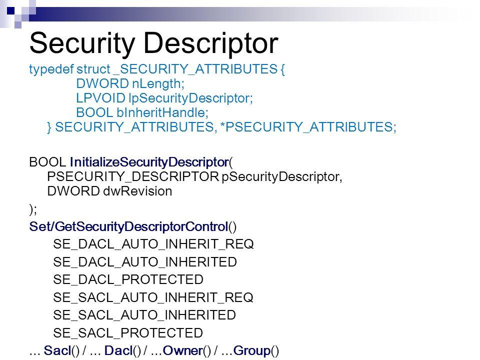 Security Descriptor NT, Win2K, XP