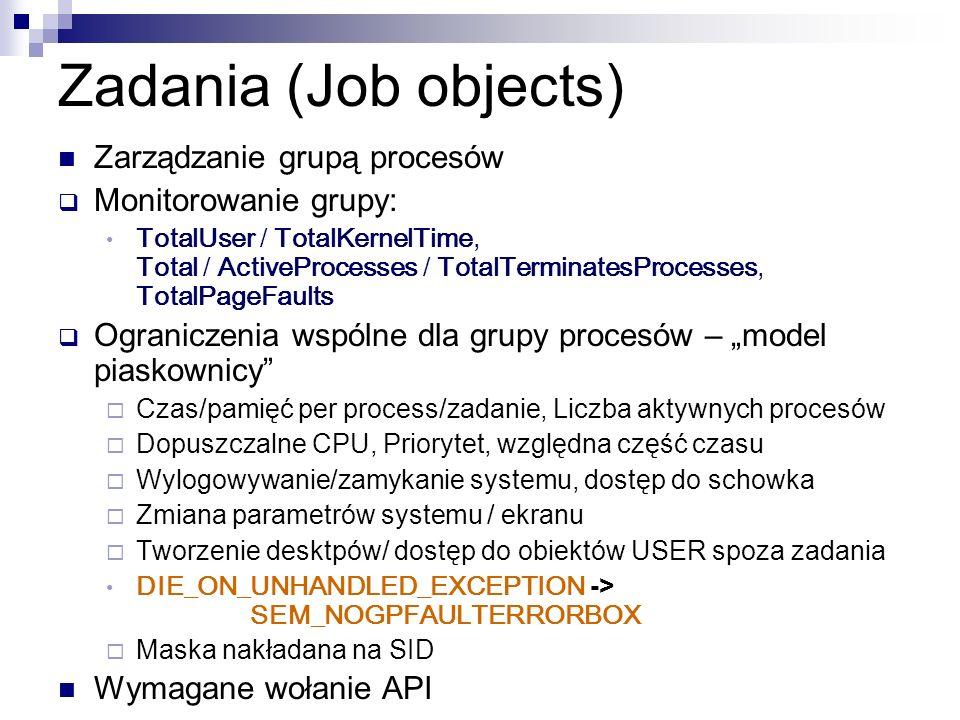 Zadania (Job objects) Zarządzanie grupą procesów Monitorowanie grupy: