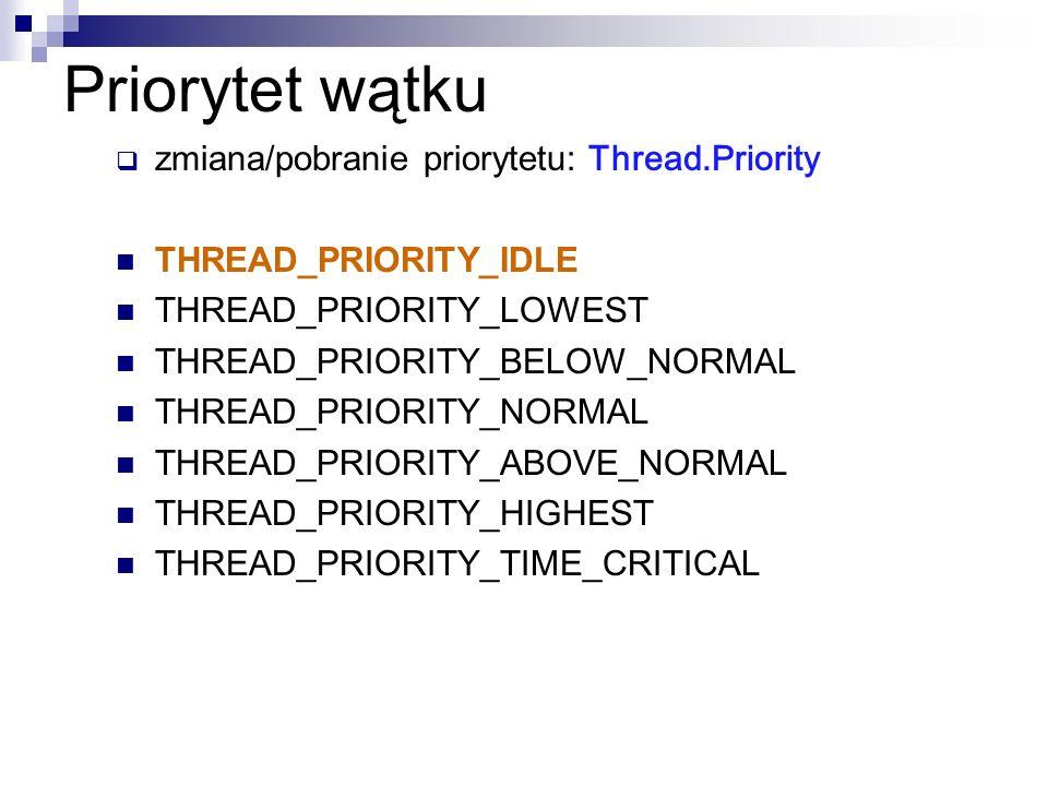 Priorytet wątku zmiana/pobranie priorytetu: Thread.Priority