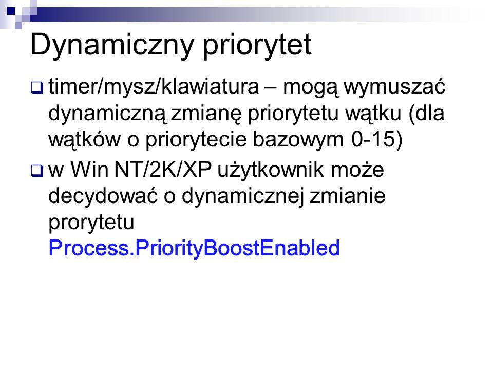Dynamiczny priorytettimer/mysz/klawiatura – mogą wymuszać dynamiczną zmianę priorytetu wątku (dla wątków o priorytecie bazowym 0-15)