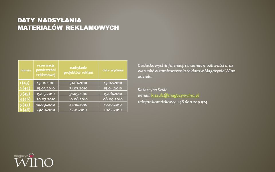 Daty nadsyłania materiałów reklamowych