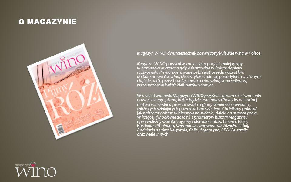 O magazynie Magazyn WINO: dwumiesięcznik poświęcony kulturze wina w Polsce.