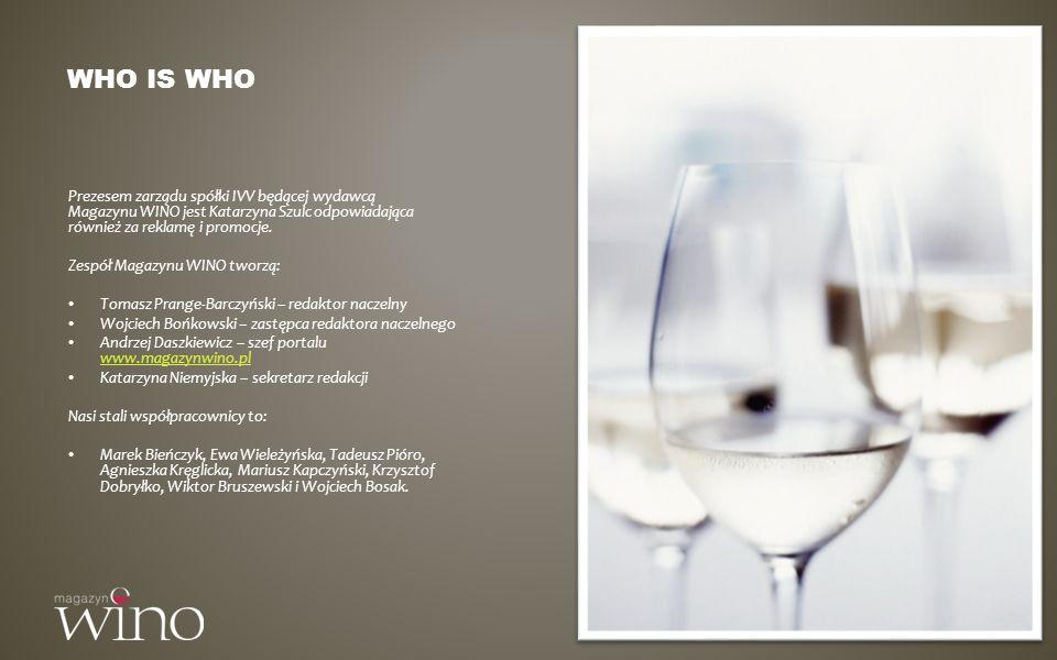 Who is who Prezesem zarządu spółki IVV będącej wydawcą Magazynu WINO jest Katarzyna Szulc odpowiadająca również za reklamę i promocje.