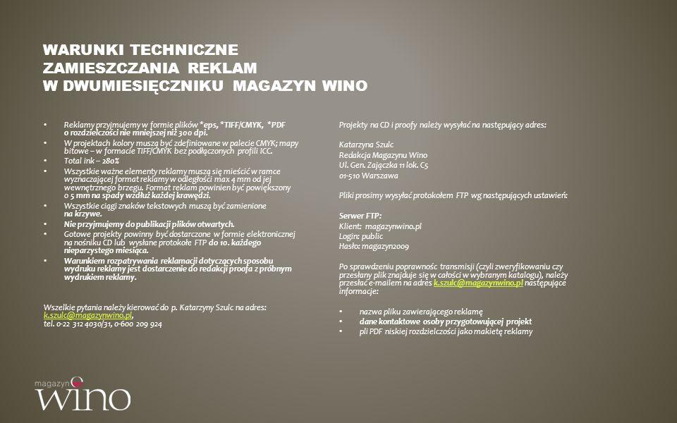 Warunki techniczne zamieszczania reklam w dwumiesięczniku MAGAZYN WINO