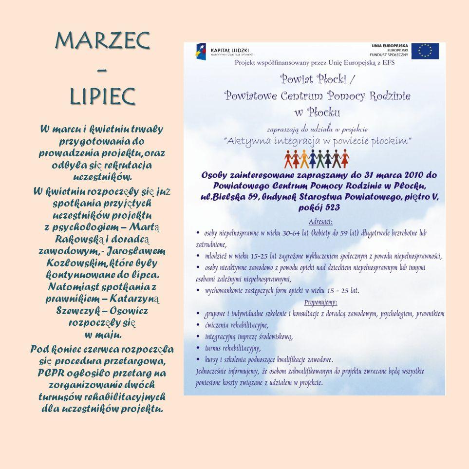 MARZEC - LIPIEC W marcu i kwietniu trwały przygotowania do prowadzenia projektu, oraz odbyła się rekrutacja uczestników.