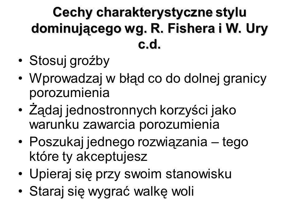 Cechy charakterystyczne stylu dominującego wg. R. Fishera i W. Ury c.d.