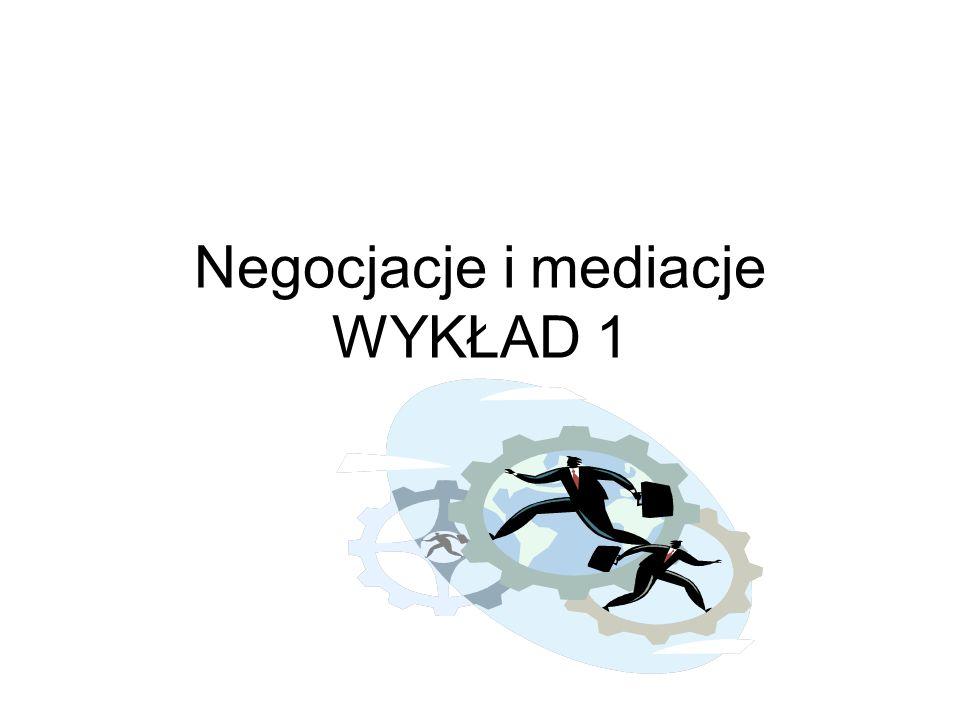 Negocjacje i mediacje WYKŁAD 1