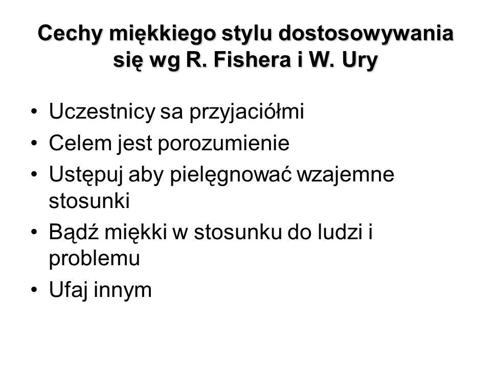 Cechy miękkiego stylu dostosowywania się wg R. Fishera i W. Ury