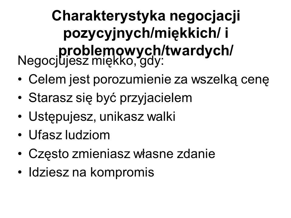 Charakterystyka negocjacji pozycyjnych/miękkich/ i problemowych/twardych/