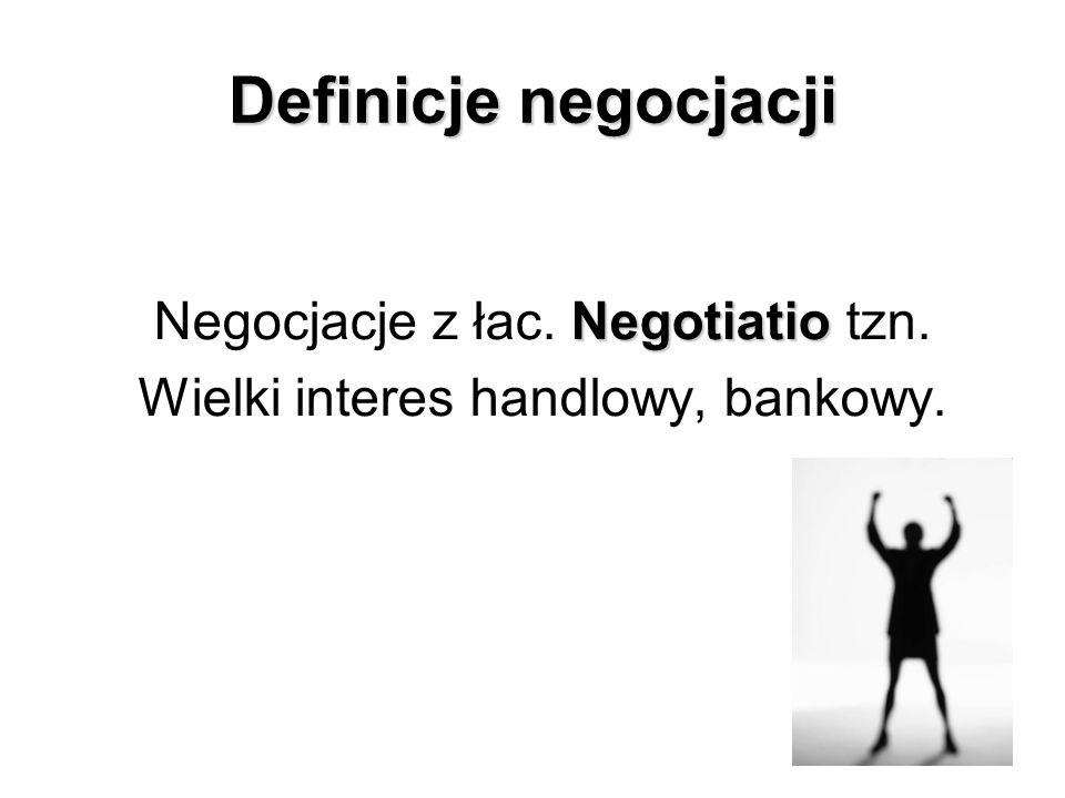 Definicje negocjacji Negocjacje z łac. Negotiatio tzn.